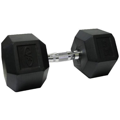 Valor Fitness 55lb Rubber Hex Dumbbell (1) RH-55 - Fitness Gear