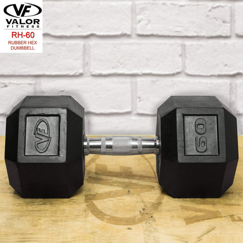 Image of Valor RH-60 60lb Rubber Hex Dumbbell (1) - Fitness Gear