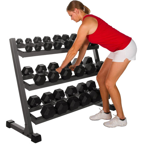 Image of XMark 4 ft. Three Tier Dumbbell Rack XM-4439 - Fitness Gear
