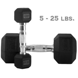 Dumbbell - XMark 5 Lb. To 25 Lb. Rubber Hex Dumbbell Set XM-3301-150S