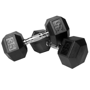 XMark Pair of 35 lb. Rubber Hex Dumbbells XM-3301-35-P - FitnessGearUSA.Com