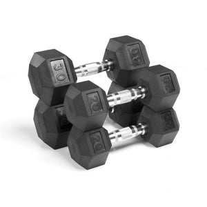Xmark Premium Quality, Rubber Coated Hex Dumbbells - 100 lb. Set - Fitness Gear