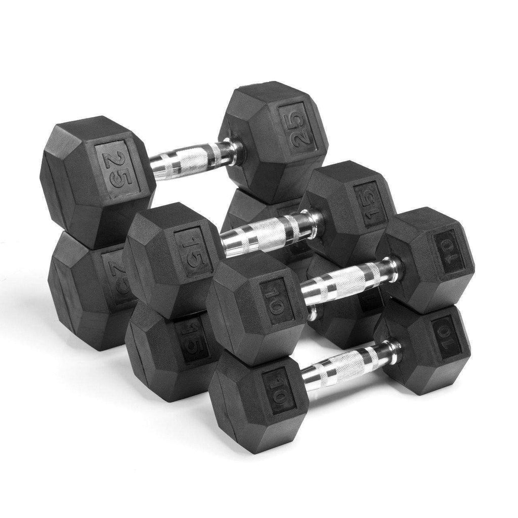 Dumbbell - Xmark Premium Quality, Rubber Coated Hex Dumbbells