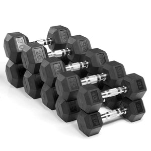 Xmark Premium Quality, Rubber Coated Hex Dumbbells - 200lb. Set - FitnessGearUSA.Com