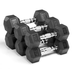 Xmark Premium Quality Rubber Coated Hex Dumbbells - 90 lb. Set - Fitness Gear