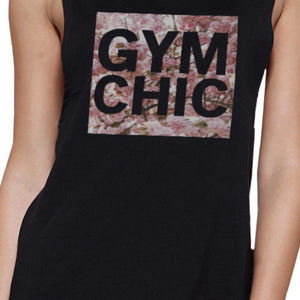 Gym Chic Black Muscle Tank Top Cute Work Out Sleeveless Muscle Tee - Fitness Gear