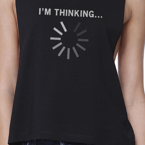 Image of Im Thinking Black Work Out Crop Top Fitness Sleeveless Muscle Shirt - Fitness Gear