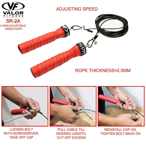 Image of Valor Fitness SR-2A 2.5mm Cable Adjustable Speed Rope - FitnessGearUSA.Com