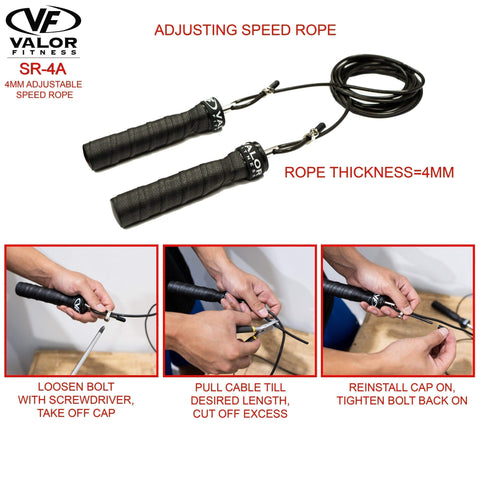 Valor Fitness SR-4A 4mm Cable Adjustalbe Speed Rope - Fitness Gear