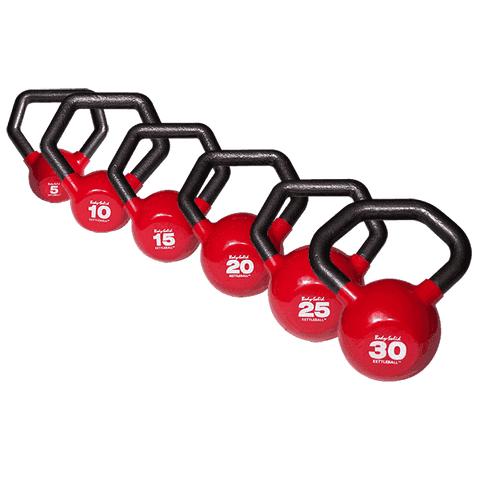 Image of 5-30 lb. Body-Solid Vinyl Dipped Kettleball Set - Fitness Gear