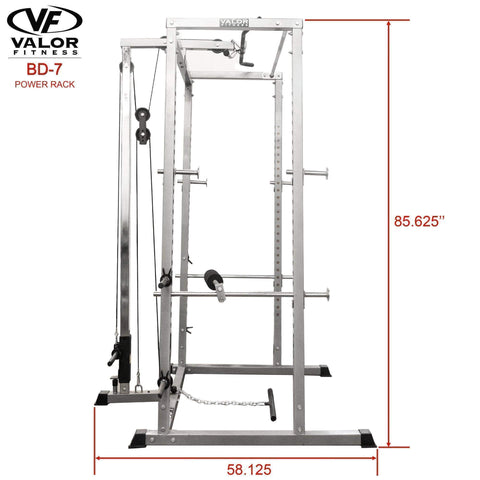 Image of Valor Fitness BD-7 Power Rack with Lat Pull Attachment - Fitness Gear