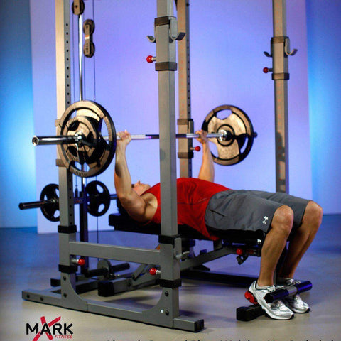 Image of Squat Rack - XMark Power Cage With Lat Pulldown And Low Row Attachment XM-7620-21