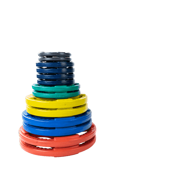 255 lb. Colored Rubber Grip Olympic Plate Set - Fitness Gear