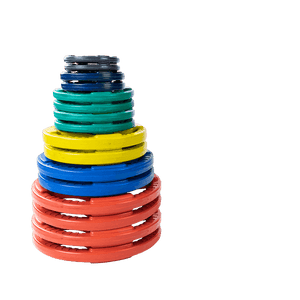 355 lb. Colored Rubber Grip Olympic Plate Set - Fitness Gear