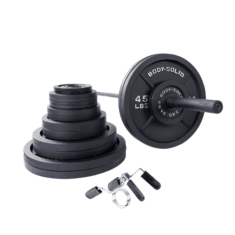 400 lb. Black Cast Iron Olympic Plate Set with Chrome Olympic Bar and Spring Collars Included - Fitness Gear