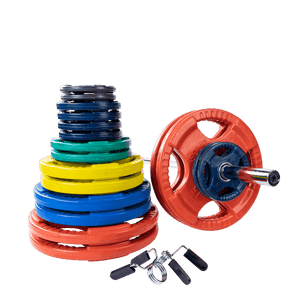 400 lb. Colored Rubber Grip Olympic Plate Set with Bar and lips - FitnessGearUSA.Com