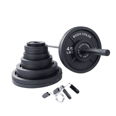 400 Lb. Olympic Weight Set with Black Bar and collars - Fitness Gear