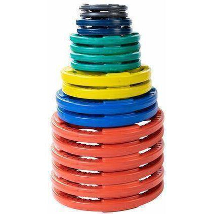 455 lb. Colored Rubber Grip Olympic Plate Set - Fitness Gear
