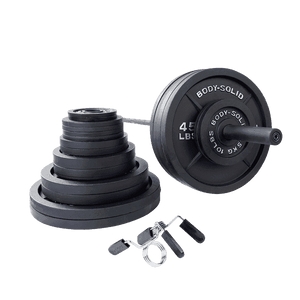 500 lb. Black Cast Iron Olympic Plate Set with Chrome Olympic Bar and Spring Collars Included - FitnessGearUSA.Com