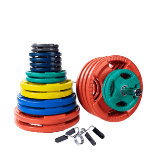 500 lb. Colored Rubber Grip Olympic Plate Set with Chrome Bar and clips - Fitness Gear