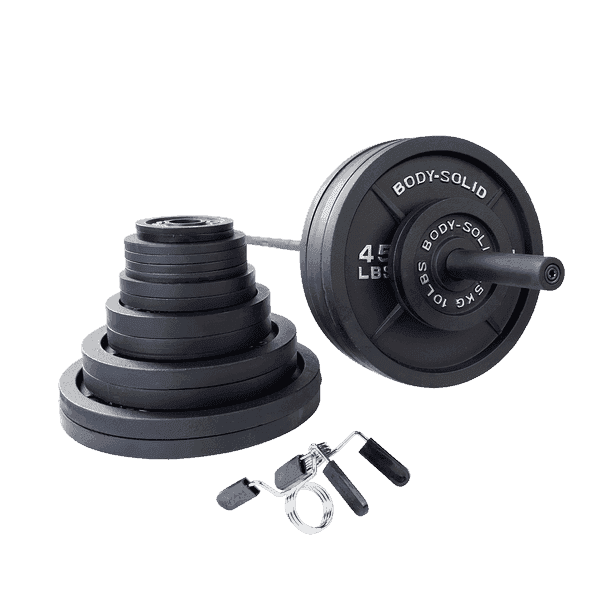 500 Lb. Olympic Weight Set with Black Bar and Collars - Fitness Gear