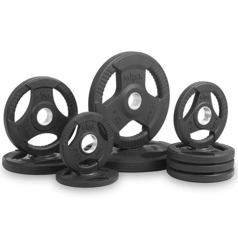 Image of Weight Plates - XMark Fitness Premium Quality Rubber Coated Tri-grip Olympic Plate Weights XM-3377-BAL-95 95lbs Set