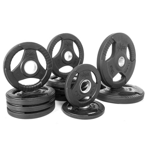 Weight Plates - XMARK Premium Quality Rubber Coated Tri-grip Olympic Plate Weights - 115 Lb. Set
