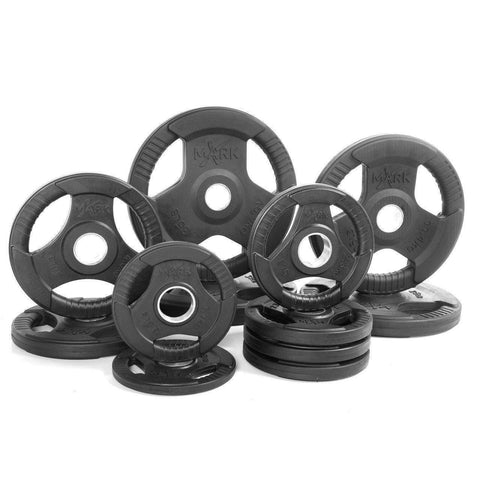 Weight Plates - Xmark Premium Quality Rubber Coated Tri-grip Olympic Plate Weights - 165 Lb. Set