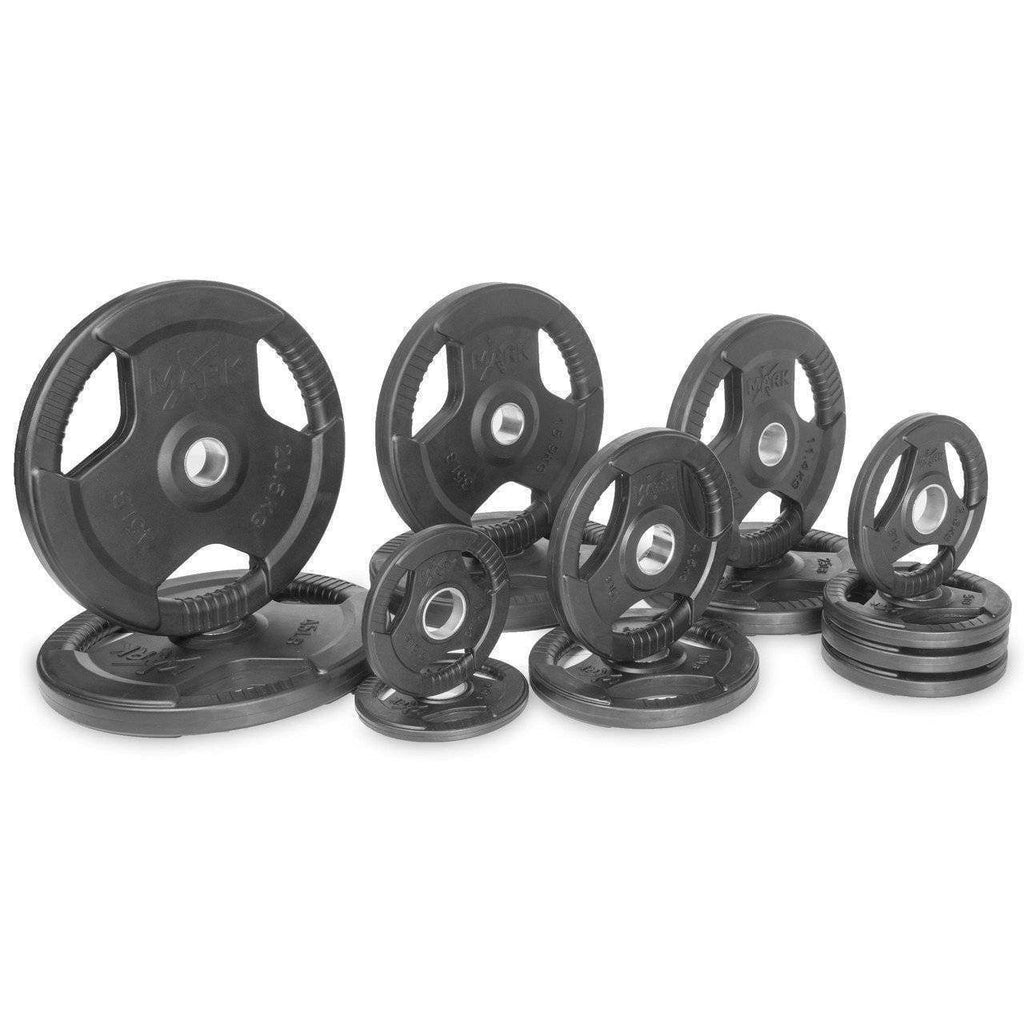 Weight Plates - Xmark Premium Quality Rubber Coated Tri-grip Olympic Plate Weights - 255 Lb. Set