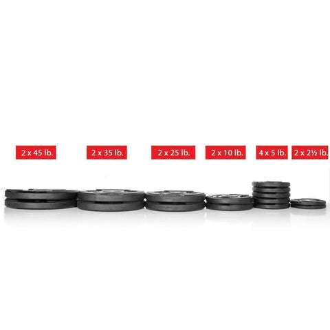 Image of Weight Plates - Xmark Premium Quality Rubber Coated Tri-grip Olympic Plate Weights - 255 Lb. Set