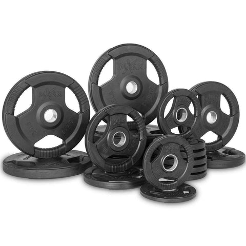 Image of Xmark Premium Quality Rubber Coated Tri-grip Olympic Plate Weights - 355 lb. Set - Fitness Gear
