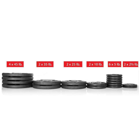 Weight Plates - Xmark Premium Quality Rubber Coated Tri-grip Olympic Plate Weights - 355 Lb. Set