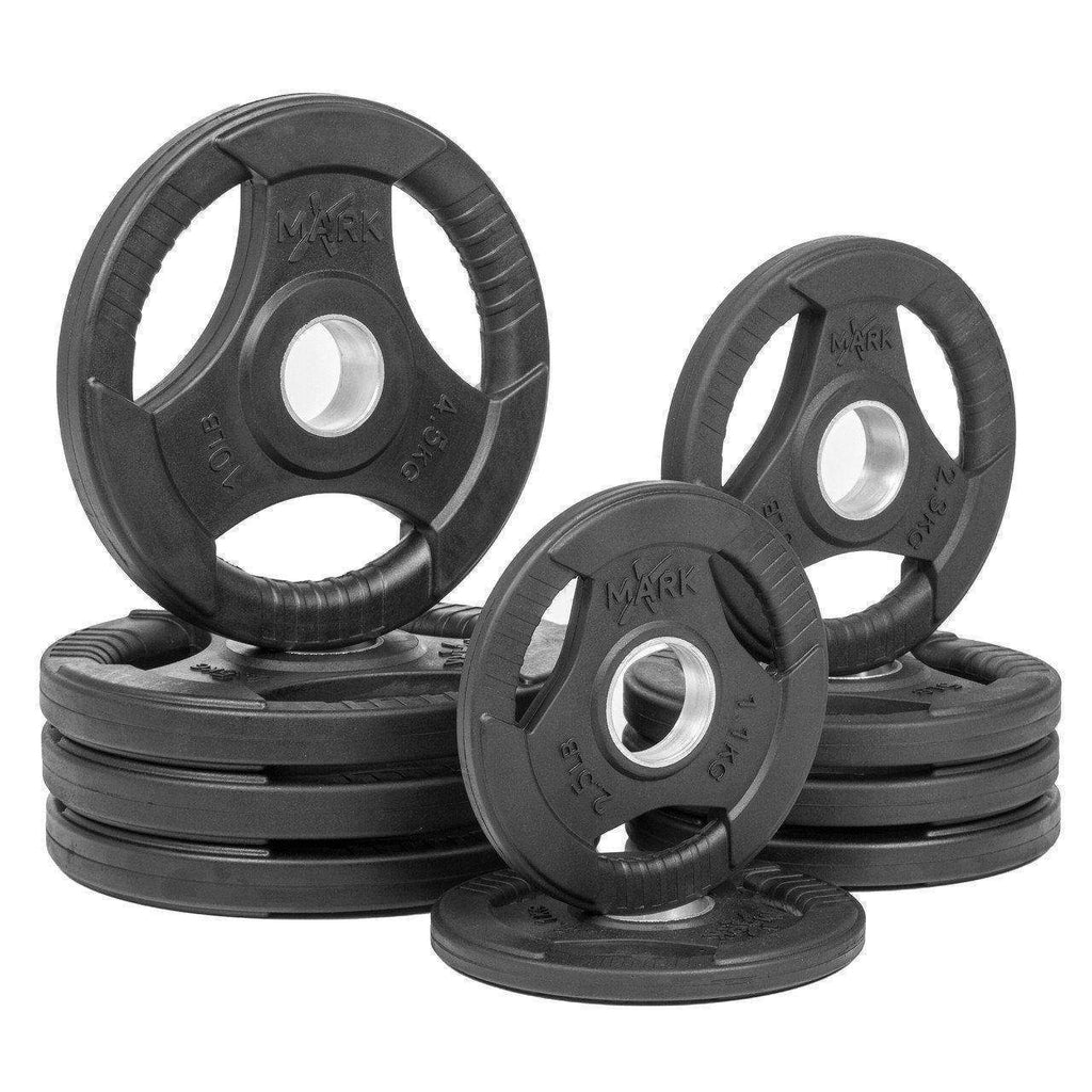 Weight Plates - XMARK RUBBER COATED TRI-GRIP OLYMPIC PLATE WEIGHT PACKAGE XM-3377-BAL-65