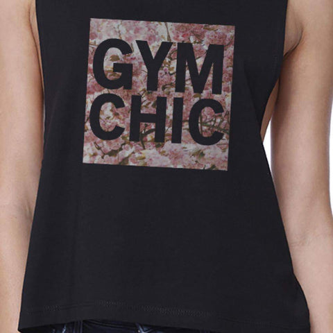 Image of Gym Chic Black Work Out Crop Top Cute Fitness Sleeveless Muscle Tee - Fitness Gear