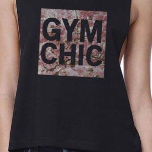 Gym Chic Black Work Out Crop Top Cute Fitness Sleeveless Muscle Tee - Fitness Gear