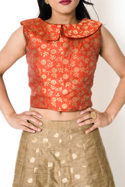 Orange Bertha Blouse