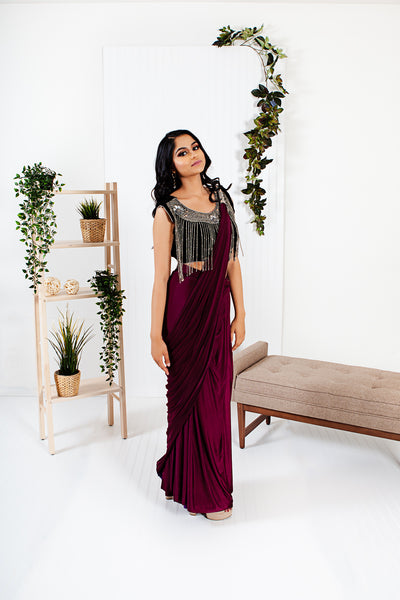 Oread Maroon Ready to Wear Saree