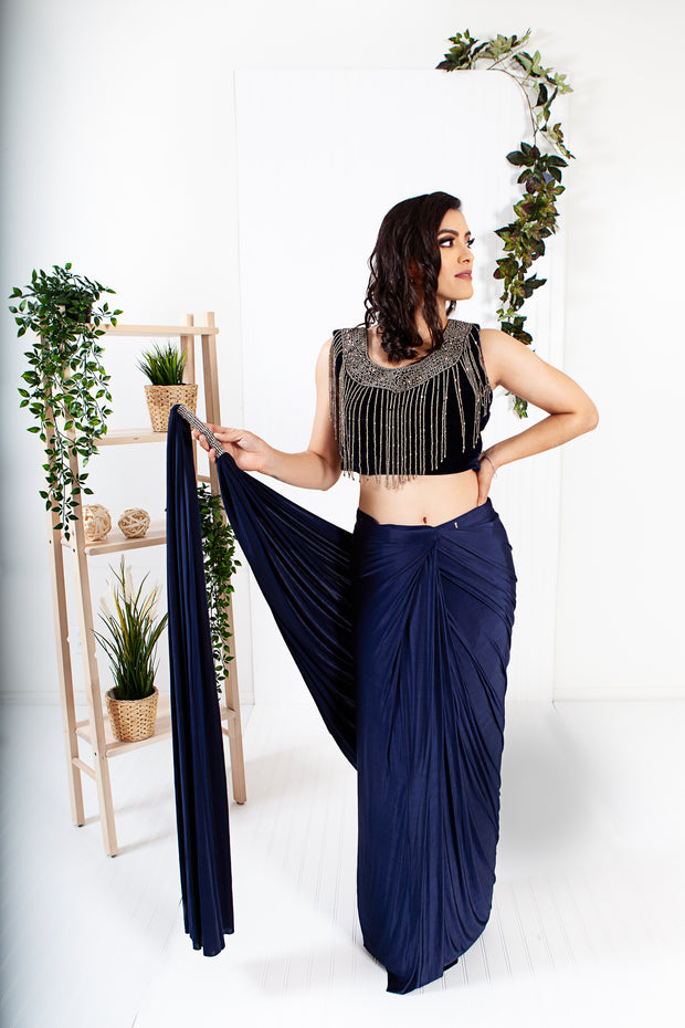 Oread Navy Blue Ready to Wear Saree