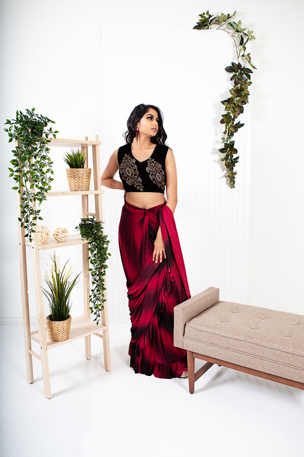Lisianthus Black/Red Ready to Wear Saree