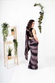 Lisianthus Grey/Black Ready to Wear Saree