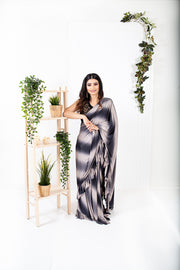 Lisianthus Silver/Black Ready to Wear Saree