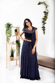 Aster Navy Blue Ready to Wear Saree
