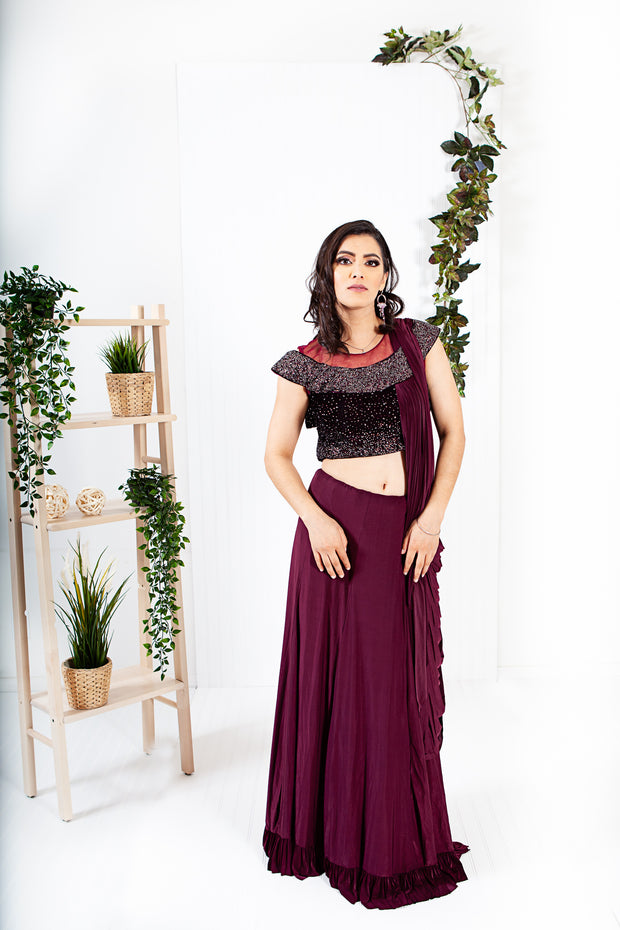 Aster Maroon Ready to Wear Saree