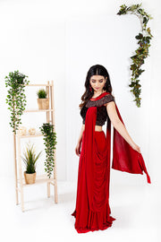 Aster Red Ready to Wear Saree