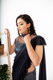 Anemone Space Gray Ready to Wear Saree