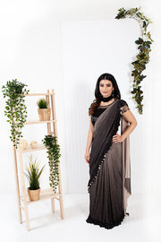 Anemone Metallic Gray Black Ready to Wear Saree