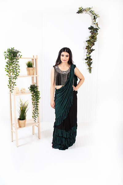Oread Bottle Green/Black Ready to Wear Saree