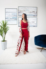 Allium White & Maroon Pant Suit with Shrug
