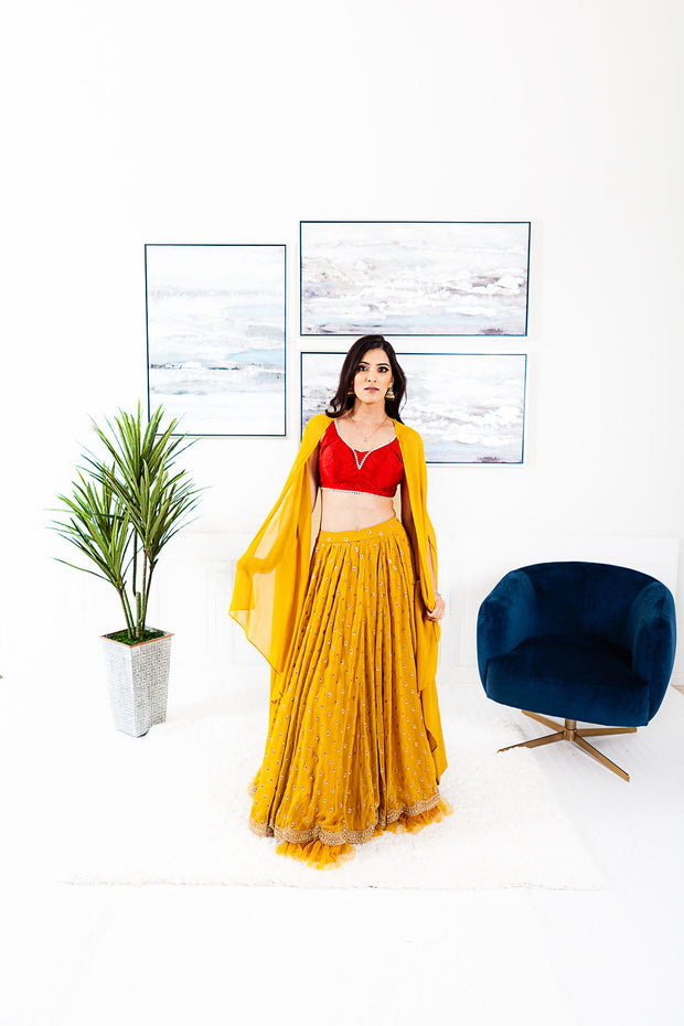 Ausmus Yellow/Red Lengha Suit