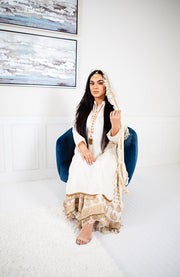 Plumeria White/Gold Sharara Suit